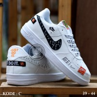 "Sepatu Nike Air Force One 1 Just Do It"" Full White & Black"