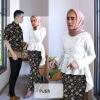 couple kebaya batik Hanny putih baju batik pasangan sarimbit cp hau vt