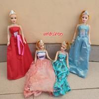 1pc Mainan Boneka Barbie Berbie Frozen Gaun Pesta Dress Cantik