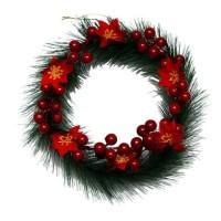 Hiasan Krans Natal Cherry Poinsettia 20cm / Gantungan Pintu Natal