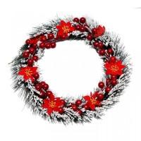 Hiasan Krans Natal Salju Poinsettia Merah 17cm / Gantungan Pintu Natal