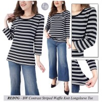 Blouse Wanita Branded- 23197- 23aa-Red-ht- bw contrast striped