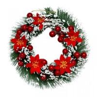 Hiasan Krans Natal Salju Poinsettia Merah 25cm - Dekorasi Natal