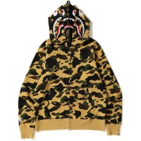 BAPE 1st Camo Shark Full Zip Double Hoodie (Yellow)