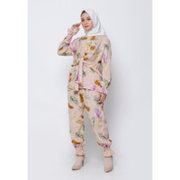 Hijab Ellysha STELAN SYARMILLA PASTEL LEAF PANTS SET BEIGE