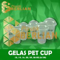Plastik Cup PET Gelas Plastik PET 16 oz isi 50 gelas