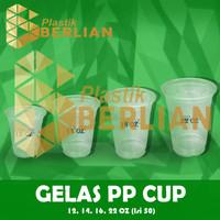 Plastik Cup PP Gelas Plastik PP 14 oz isi 50 gelas