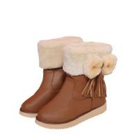 Sepatu Wanita Ankle Boots Flat Hangat Aksen Pita untuk Musim Gugur Din
