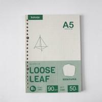 Bookpaper Loose Leaf (GRID) Kertas Binder/ Isi Notes - (A5) 50 lbr