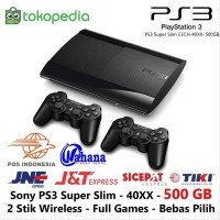 PS3 SUPER SLIM SONY 500GB 2 STICK WIRELESS FULL GAME part collection