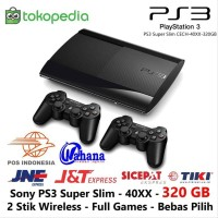 PS3 SUPER SLIM SONY 320GB 2 STICK WIRELESS FULL GAME acc collection