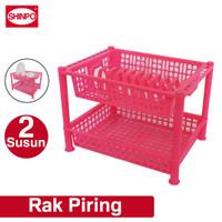 SHINPO Rak Piring / Dapur Plastik 2 Susun Absolute Rack SPO-SIP-828 - Merah Muda