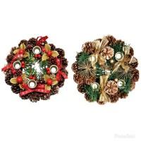 Hiasan Krans Lingkaran Adven 4 Lilin 20cm - Hiasan Natal - Gantungan