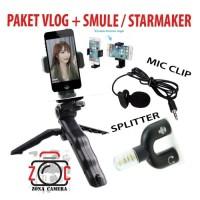 Paket Vlog Hp Kamera Smartphone Smule Splitter Mic Holder Tripod Mini