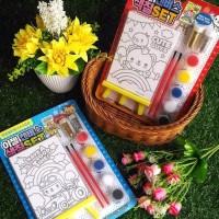 Set Mainan Edukasi Kreatif Mewarnai Dengan Kanvas Cat Air + Gliter