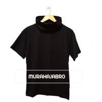 Baju Kaos Polos Lengan Pendek Turtle Neck Japan Style - Black