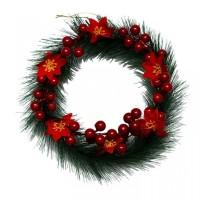 Hiasan Krans Natal Cherry Poinsettia 20cm