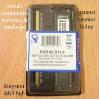RAM LAPTOP DDR3 8GB PC3 12800 1600MHZ CL11 KINGSTON BARU.BERGARANSI