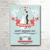 Kado Pernikahan, jam dinding HAPPY WEDDING model hijab (kode W-731-H)