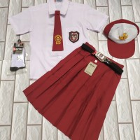 setelan seragam sekolah sd perempuan baju pendek rok pendek setlengkap