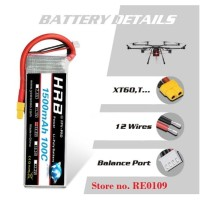 HRB Lipo Batere Battery 4S 14.8V 1500mAh 100C RC Car Pesawat Drone