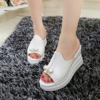 BEST SELLER WEDGES MUTIARA PUTIH Sepatu Sandal