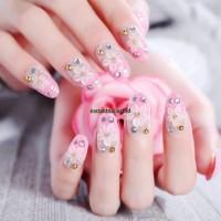 BN-705 Pink Pastel Soft Flower Nail Art Cantik Bridal Party Kuku Palsu