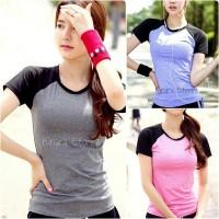 Kaos sport t-shirt salur olahraga senam gym fitness wanita
