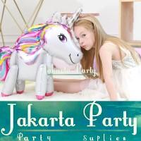 Balon Foil Unicorn 3D Full Body White / Standing Balloon Kuda Pony