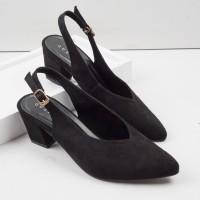 Guzzini MN 529 - Hitam Sepatu Heels Beludru Suede tumit petak
