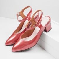 Guzzini MN 552 Merah - Sepatu Heels Glossy Tali Casual 5cm