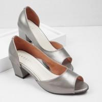 Guzzini MN 556 Abu Silver - Sepatu Heels Buka Depan Casual