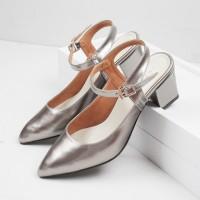 Guzzini MN 552 Abu Silver - Sepatu Heels Glossy Tali Casual 5cm