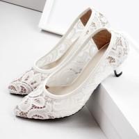 Guzzini MN 531 - Putih Sepatu Heels Wanita Kain Renda bermotif