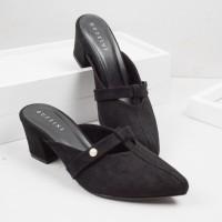 Guzzini MN 535 Hitam - Sepatu Mules Heels Beludru 5cm