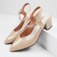 Guzzini MN 552 Tan Gold - Sepatu Heels Glossy Tali Casual 5cm