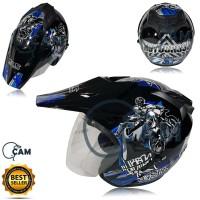 Helm Motor SNI 2 kaca KNC trail moto cross black gloss blue bukan jpx