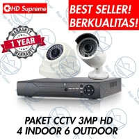 PAKET CCTV 10 KAMERA HD KOMPLIT 16 CHANNEL (4 INDOOR, 6 OUTDOOR)