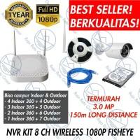 PAKET CCTV WIRELESS NVR KIT 8 KAMERA 360 PANORAMIC + HDD (PAKET KE 1)