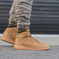 Sepatu Nike Air Force 1 High Mid Wheat Flax Brown - Premium Import