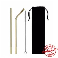 Sedotan Stainless Steel - Stainless Straw - Reusable Straw pouch -4Pcs