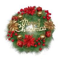 Hiasan Krans Natal / Red Gold Poinsettia - Dekorasi Krans Natal