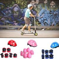 1 Set Helm Pelindung Lutut Anak Laki-laki / Perempuan untuk Bersepeda