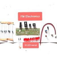 NE555+CD4017 Rangkaian Lampu Berjalan running LED set DIP PCB kit