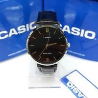 Jam Tangan Cowok Casio MTP-VT01L-1BUDF Hitam Elegan Strap Leather Ori