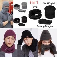 Topi Kupluk, Syal , Sarung Tangan Rajut Musim Dingin Winter 1 set 01