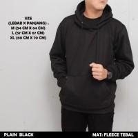 Sweater Hoodie Polos Zipper Plain Hitam Black Premium Tebal