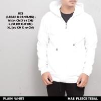 Jaket Sweater Hoodie Polos Zipper Putih Premium Tebal