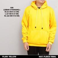 Jaket Sweater Hoodie Polos Zipper Plain Yellow/Kuning Premium Tebal