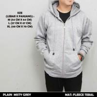 Jaket Sweater Hoodie Polos Zipper Misty Grey Abu Premium Tebal